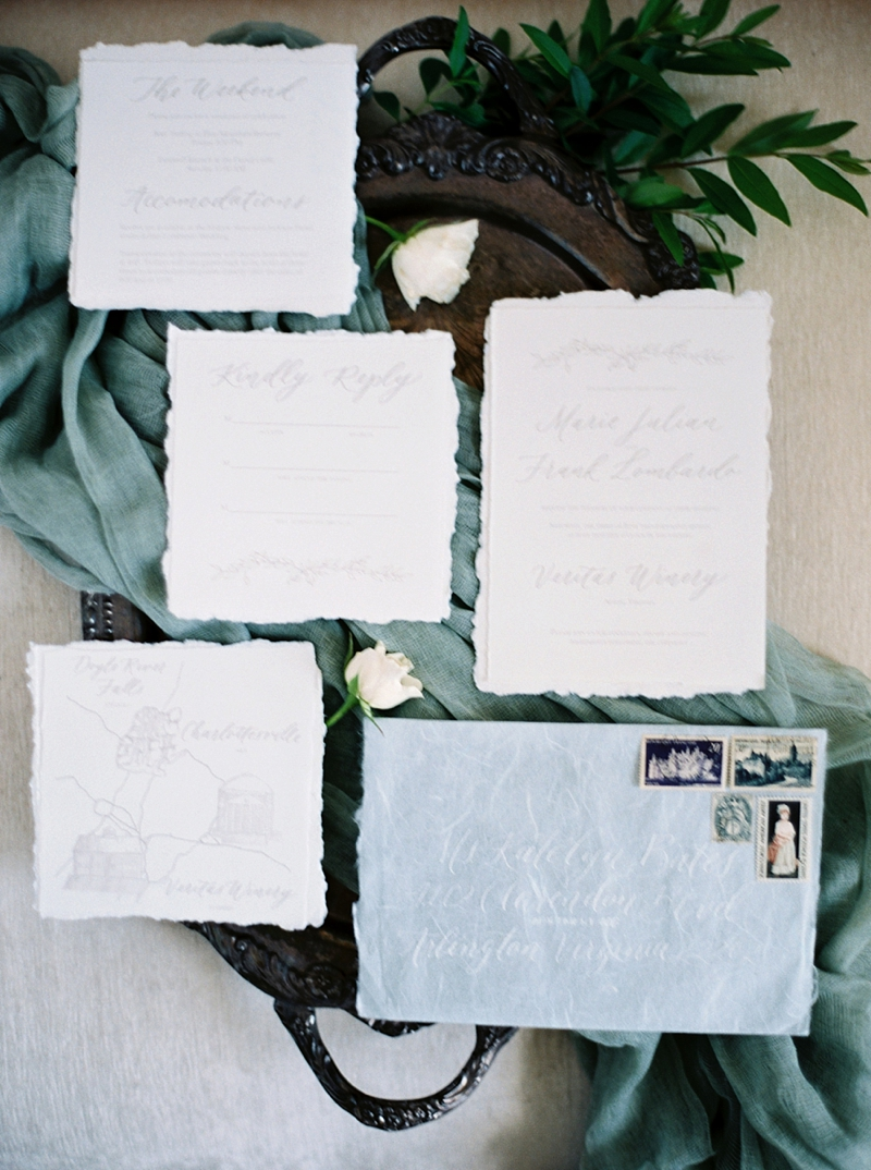 organic calligraphy invitation suite shot on fuji 400h film by Shannon Moffit